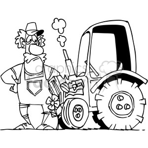 black and white cartoon farmer and his tractor