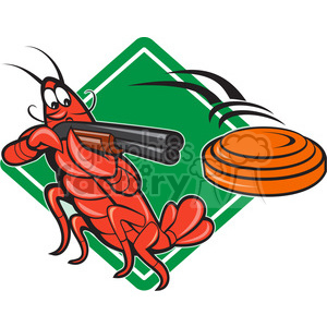 crayfish skeet shotgun clipart. Commercial use image # 388089