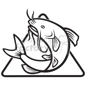 black and white catfish jump MP DIA clipart. Royalty-free image # 388109