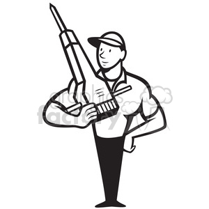 black and white construction worker jackhammer clipart. Royalty-free image # 388129