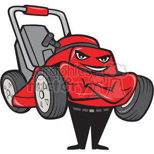 happy lawn mower smiling clipart. Commercial use image # 388159