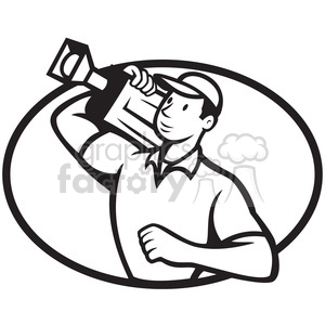 black and white cameraman movie camera shoulder OVAL clipart. Royalty-free image # 388169