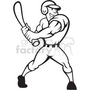 black and white baseball player batting side clipart. Royalty-free image # 388199