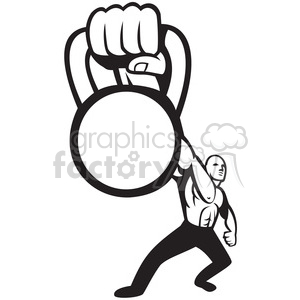 black and white kettle bell hand strong man