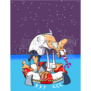 guy stranded on a life saver with sharks circling around him clipart. Royalty-free image # 388229