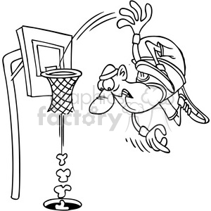 black and white cartoon basketball slam dunk clipart. Royalty-free image # 388239