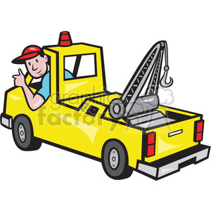 cartoon tow+truck truck worker man guy tow employee
