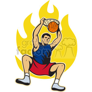 basketball player dunking hoop front