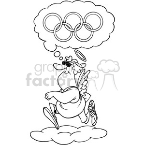 running dreaming of the olympics black and white clipart. Commercial use image # 388329