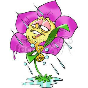 cartoon flower in the rain clipart. Royalty-free image # 388339