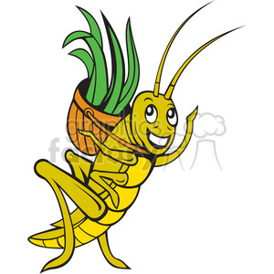 grasshopper carrying a basket clipart. Commercial use image # 388359