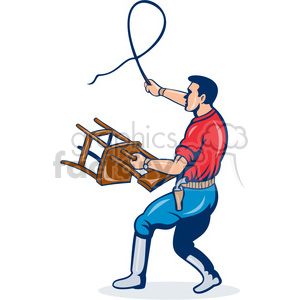 man holding chair with a whip clipart. Commercial use image # 388389