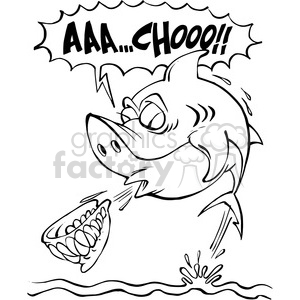 shark sneezing teeth out black and white clipart. Commercial use image # 388407