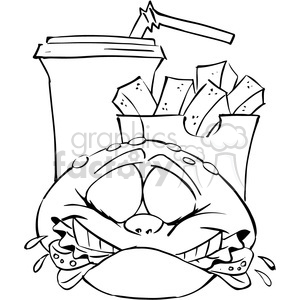 cartoon fast food characters black and white clipart. Royalty-free image # 388427