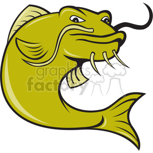 angry green fish clipart. Commercial use image # 388437