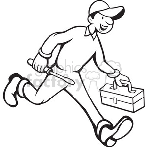 black and white repairman carrying screwdriver clipart. Commercial use image # 388447