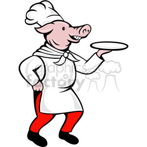cartoon pig chef cook restaurant pork pigs server dinner cooking