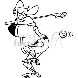 baseball player using golf club as a bat in black and white clipart. Royalty-free image # 388487