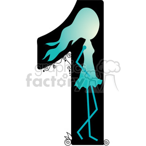 Number 1 Girly clipart. Royalty-free image # 388567