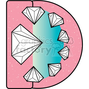 Letter D DIamond clipart. Commercial use image # 388607