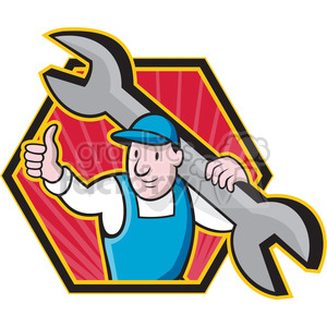 plumber thumb up holding a wrench clipart. Royalty-free image # 388647