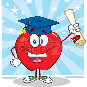 5758 Royalty Free Clip Art Happy Apple Character Graduate Holding A Diploma clipart. Royalty-free image # 388667