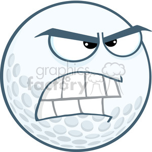 5707 Royalty Free Clip Art Angry Golf Ball Cartoon Mascot Character clipart. Commercial use image # 388697