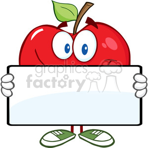 5798 Royalty Free Clip Art Smiling Red Apple Character Holding A Banner clipart. Royalty-free image # 388707