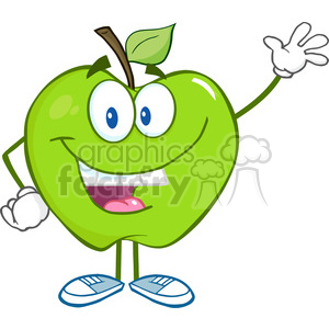 5754 Royalty Free Clip Art Smiling Green Apple Cartoon Mascot Character Waving For Greeting clipart. Commercial use image # 388717