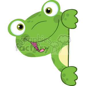 5657 Royalty Free Clip Art Cute Frog Smiling Behind Blank Sign clipart. Royalty-free image # 388727