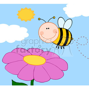 5597 Royalty Free Clip Art Smiling Bumble Bee Flying Over Flower clipart. Royalty-free image # 388737