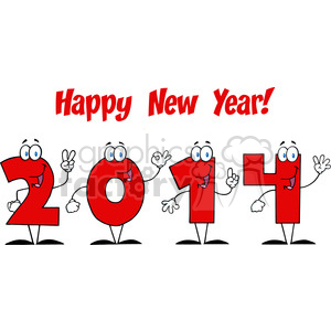 5665 Royalty Free Clip Art 2014 New Year Numbers Cartoon Characters clipart. Royalty-free image # 388749
