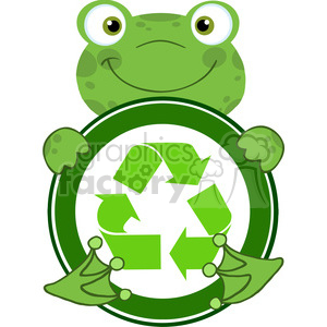 5659 Royalty Free Clip Art Happy Frog Hugging Banner With Recycle Symbol clipart. Royalty-free image # 388759