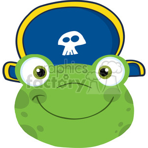 5651 Royalty Free Clip Art Cute Frog Smiling Head With Pirate Hat clipart. Royalty-free image # 388779