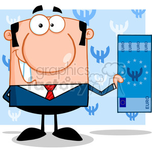 5573 Royalty Free Clip Art Smiling Business Man Holding A Euro Bill clipart. Commercial use image # 388789
