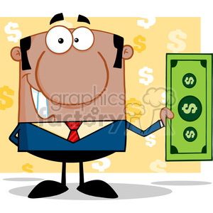 5570 Royalty Free Clip Art Smiling African American Business Man Holding A Dollar Bill clipart. Commercial use image # 388808