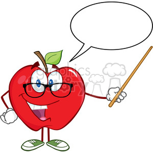 5761 Royalty Free Clip Art Smiling Apple Teacher Character With A Pointer And Speech Bubble clipart. Commercial use image # 388828