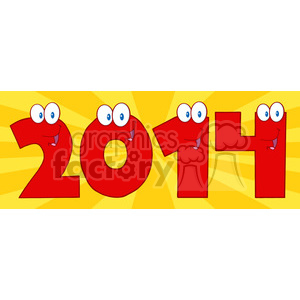 5662 Royalty Free Clip Art 2014 New Year Red Numbers Cartoon Characters animation. Royalty-free animation # 388859