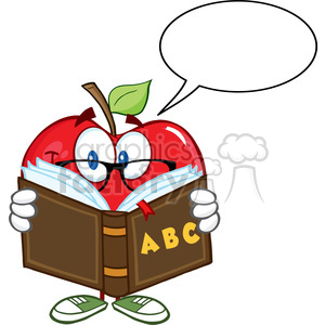 Smiling Apple Teacher Character Reading A Book With Speech Bubble clipart. Royalty-free image # 388869
