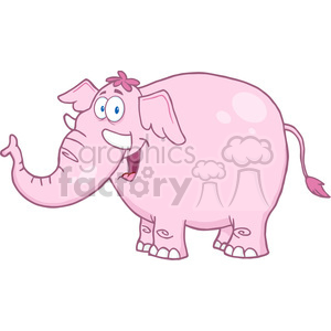 5623 Royalty Free Clip Art Happy Pink Elephant Cartoon Mascot Character