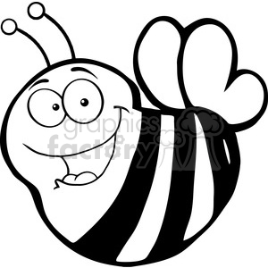 5589 Royalty Free Clip Art Happy Bee Cartoon Mascot Character