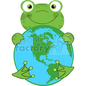 5658 Royalty Free Clip Art Happy Frog Hugging Planet Earth clipart. Royalty-free image # 388909