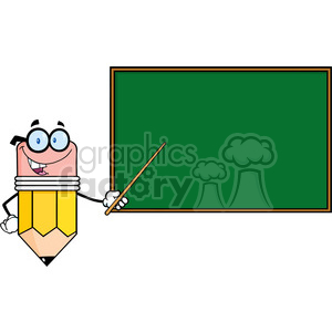 5882 Royalty Free Clip Art Smiling Pencil Teacher Character With A Pointer In Front Of Chalkboard clipart. Commercial use image # 388919