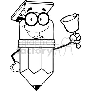 5929 Royalty Free Clip Art Smiling Pencil Teacher Ringing A Bell clipart. Commercial use image # 388929