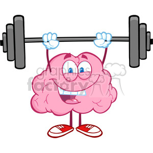 5819 Royalty Free Clip Art Happy Brain Character Lifting Weights clipart. Commercial use image # 388939
