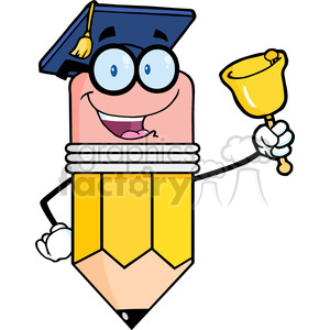 5930 Royalty Free Clip Art Smiling Pencil Teacher Ringing A Bell clipart. Royalty-free image # 388949