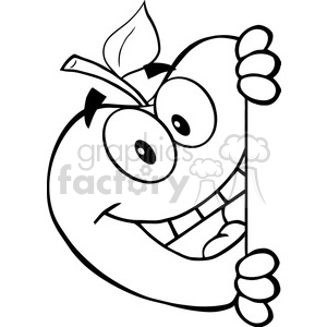 5969 Royalty Free Clip Art Smiling Apple Hiding Behind A Sign clipart. Commercial use image # 388979
