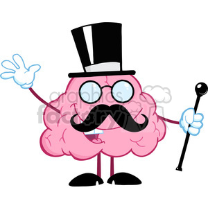 5859 Royalty Free Clip Art Happy Brain Gentleman With Cylinder Hat And Cane Waving For Greeting clipart. Commercial use image # 388989