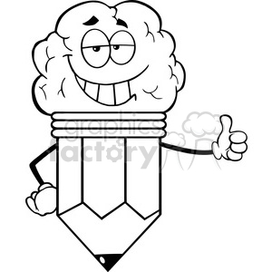 5923 Royalty Free Clip Art Clever Pencil Cartoon Character With Big Brain Giving A Thumb Up clipart. Royalty-free image # 389009