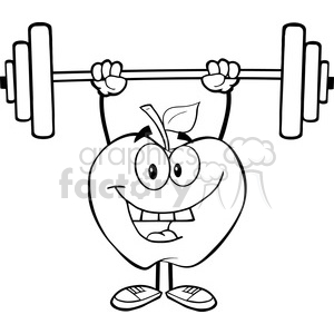 5957 Royalty Free Clip Art Smiling Apple Cartoon Character Lifting Weights clipart. Commercial use image # 389029